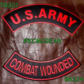 U.S. Army Combat Wounded Embroidered Patches Red & Black Military Patch Set for Jackets
