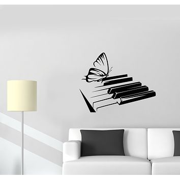 Vinyl Wall Decal Music Art Butterfly On The Piano Keys Stickers (3888ig)