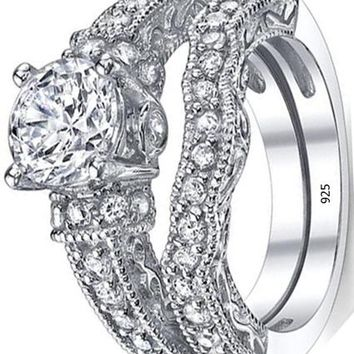 1.25 Carat Solid Sterling Silver Wedding Engagement Ring Set, Bridal Ring, with Cubic Zirconia CZ