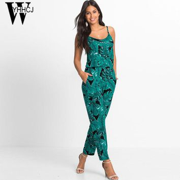WYHHCJ 2017 off shoulder summer women jumpsuit print flowers v-neck strap bodysuit women casual beach playsuit combinaison femme