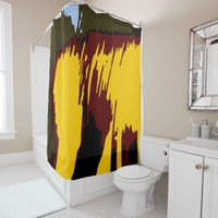 Mountains Abstract Modern Vector Art Shower Curtain