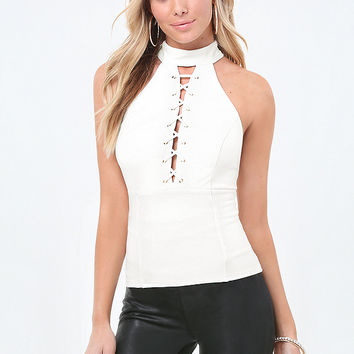 MOCK NECK LACE UP TOP