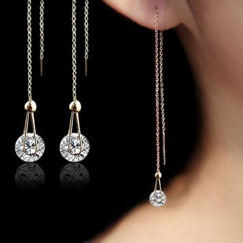 Rose Gold Plated long chain crystal Earrings Studs