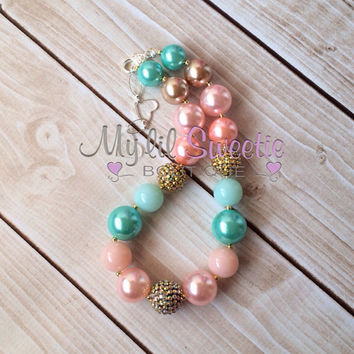 Mint, gold, and coral pink chunky necklace, girls jewelry, wedding jewelry, children's necklace, bubblegum jewelry, bubblegum necklace