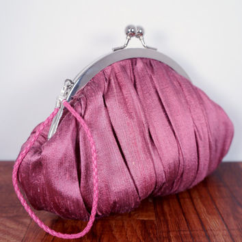 Pink clutch, rose colored small clutch purse with wrist strap, gathered pink silk clutch, personalized clutch wristlet