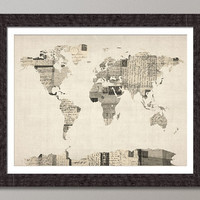 Map of the World Map from Old Postcards Art Print on Etsy