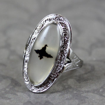Vintage 1920s Dendritic Moss Agate Etched 18K White Gold Ring