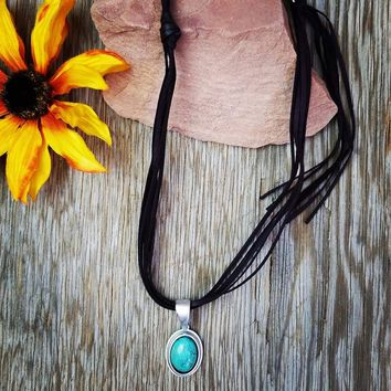 Natural Stone Leather Necklace
