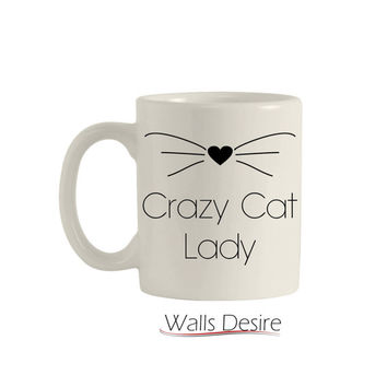 Crazy Cat Lady, With Whiskers And Heart, Mug 11 Oz. T00103