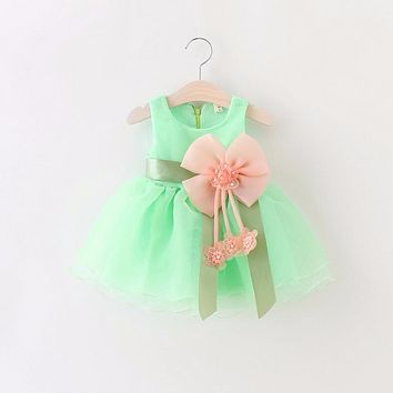 Summer New 2016 Baby Girls Chiffon Dresses Infant Girl Bow Dress Flower Girls Dress Kids Birthday Paty Dress Baby Clothes
