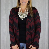 Maroon and black chevron cardigan - Filly Flair