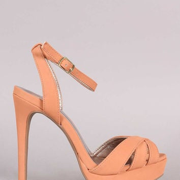 Qupid Peep Toe Stiletto Ankle Strap Heel