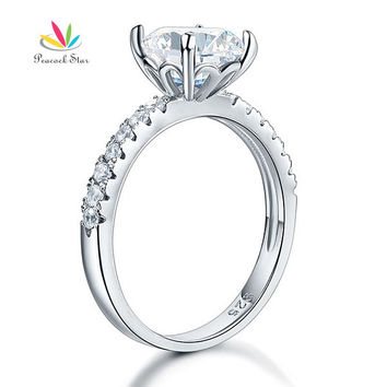 Clear 4 925 Sterling Silver Bridal Anniversary Engagement Ring 2 Carat Created Diamond Jewelry CFR8212