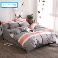 BEST.WENSD Sale Simple stripes bedding set Soft comfortable home textile-2018 New style 100% Bamboo fiber bed linen bed sets