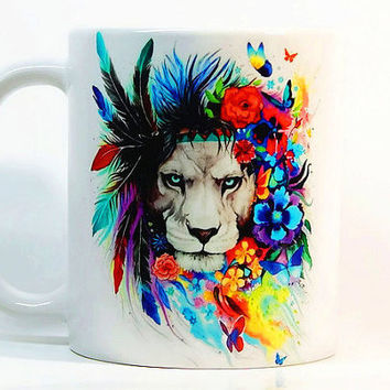 Lion coffee mug, Lion mug Watercolor Mug, Animal mug, Coffee Cup, Tea Cup, Gift for her, Gift for him, Printed mug, Ceramic mug