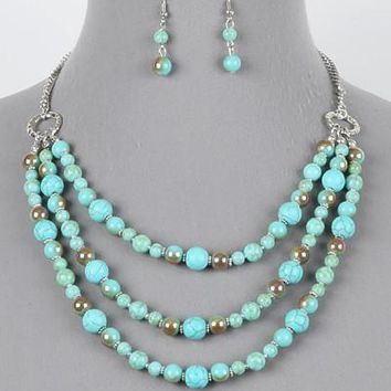"""16"""" turquoise layered glass beads collar choker necklace earrings"""