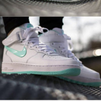 NIKE Women Men Running Sport Casual Shoes Air force High tops White green hook