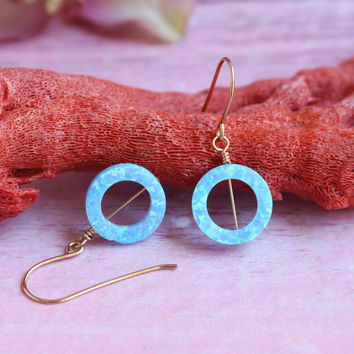 Opal earrings / Dangle opal earrings / Blue opal earrings / Gold Filled earrings / Opal jewelry / Minimalist earrings / October birthstone