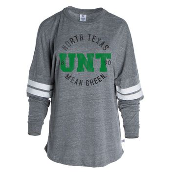 Official NCAA University of North Texas Mean Green UNT Women's Long Sleeve Tri- Blend Football Tee