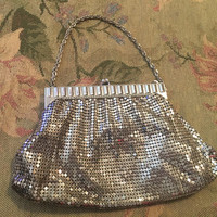 Vintage Whiting & Davis Mesh Purse, Vintage Evening Purse, Silver Mesh Bag, Whiting and Davis Evening Bag