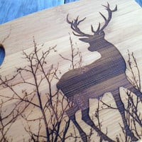 Custom Deer and trees engraved cutting board laser engraved bamboo 12x9 Buck