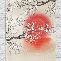 MyNelo Cherry Blossom Sakura Branches Japanese Sun and Reflection Shadow Design Patterns Cream Pearl Wall Decor Living Room Bedroom Tapestry Wall Hanging, Beige Brown Red White