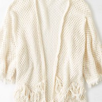 AEO Women's Fringe Knit Open Sweater