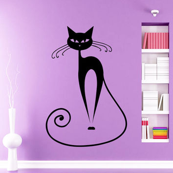 Egyptian Cat Wall Decal Animal Vinyl Sticker For Beauty Salon Decorations D142