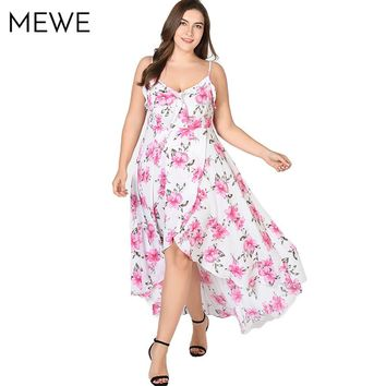 2018 Women Chiffon Floral Maxi Dress Plus Size 5xl Sexy Ruffle Boho Beach Long Dresses Asymmetrical Summer Holiday Sundress 6xl