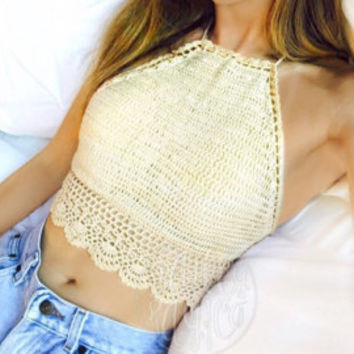 High Neck Crochet Crop Top, Boho Hippie White Crochet Top, Halter Top - Scalloped Shirt - XS S M L