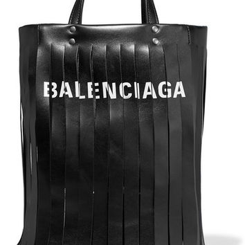 Balenciaga - Fringed printed leather tote