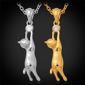 18K Gold Plated Austrian Rhinestone Cute Kitty Cat Necklace