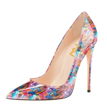 Fsj Women Fashion High Heel Stilettos Pointed Toe Pumps Evening Dress Printed Shoes Size 4 15 Us