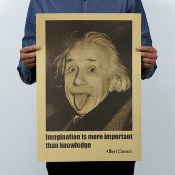 Retro wall sticker kraft paper poster Imagination is more important than knowledg Albert Einstein movie poster posters for walls
