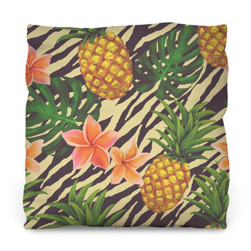 Pineapple on Zebra Throw Pillow