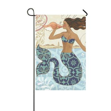 Yard outdoor home decor - Mermaid Blew Conch - Romantic Fairy Tales decorative garden flag,12 x 18 inches