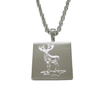 Silver Toned Etched Full Stag Deer Pendant Necklace