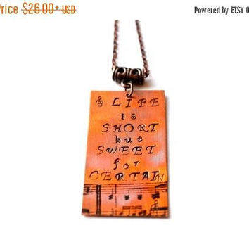 Dave Matthews Band, Dave Matthews Lyrics, life is short but sweet for certain, hand-stamped jewelry, hand-stamped necklace, DMB, Music note