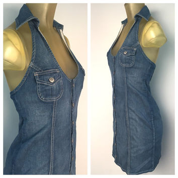Denim Halter Dress Guess Jeans Button Down Wiggle Dress Blue Cotton stretch 90s Denim dress Sleeveless Open Back Collar Deep V Neck L 11