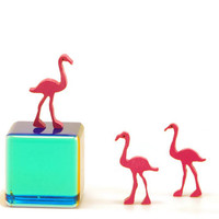 Miniature Painted Wood Pink Flamingo -- Tiny  handmade and painted wood flamingos- micro Waldorf; made of eco-friendly Baltic birch-desk art