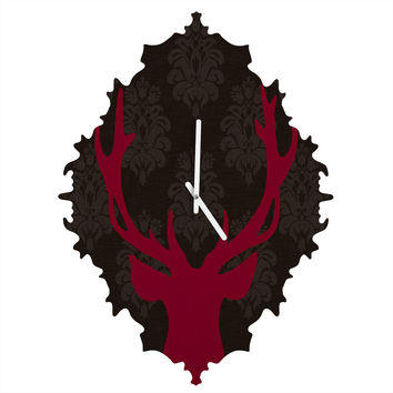Natt Deer Damask Fuxia Baroque Clock