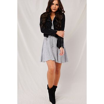 Bad And Beautiful Faux Suede Moto Jacket (Black)