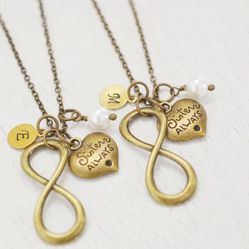infinity sisters necklaces set,bff gift,infinity jewelry,bridesmaid necklace,maid of honor,best friend,personalized jewelry,christmas gift