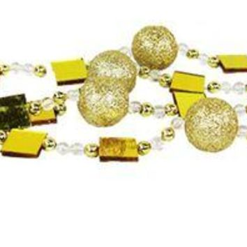 VOND4H 6' Gold Glitter Beaded Christmas Garland