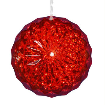 Crystal Sphere Ball Outdoor Decoration - Red Led Lighted
