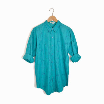 Vintage 90s Tribal Print Boy Shirt in Aqua - men's small