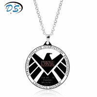 Marvel Comics Agents Of Shield S.H.I.E.L.D. Eagle Logo Necklace Women Men Movie Jewelry Choker Necklace Link Chain Collier