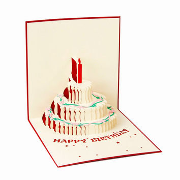 Laser Cutting Paper 3D Pop Up Birthday Cake Handmade Greeting Cards Postcards Souvenirs Party Supplies Free Shipping