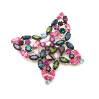 Colorful Rhinestone Butterfly Brooch Vintage Jewelry