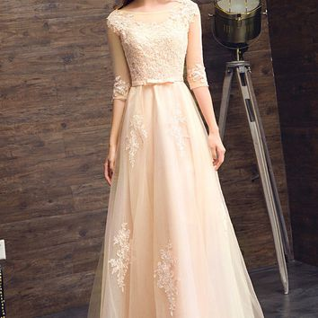 Elegant Champagne Evening Dress O-Neck A-Line Floor Length Lace Prom Dresses Party Dress With 3/4 Sleeves